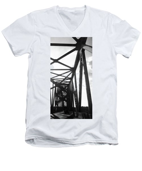Men's V-Neck T-Shirt featuring the photograph Indefinite Sight Bw by Jamie Lynn