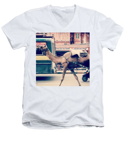 India - Where Even The Camels Overtake Men's V-Neck T-Shirt