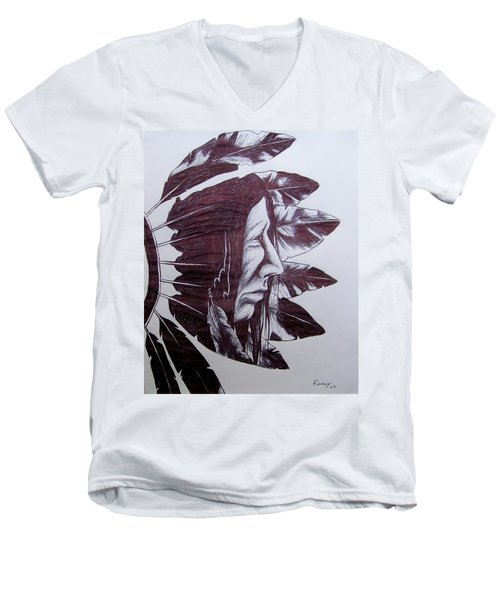 Men's V-Neck T-Shirt featuring the drawing Indian Feathers by Michael  TMAD Finney
