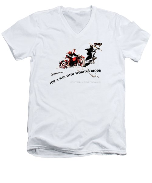 Indian Motorcycle - Sporting Blood 1930 Men's V-Neck T-Shirt by Mark Rogan