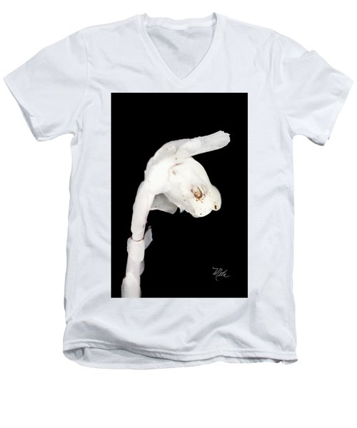Men's V-Neck T-Shirt featuring the photograph Indian Pipe Head by Meta Gatschenberger