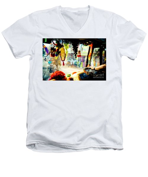 Indian Street From Window In The Bus Kerala India Men's V-Neck T-Shirt
