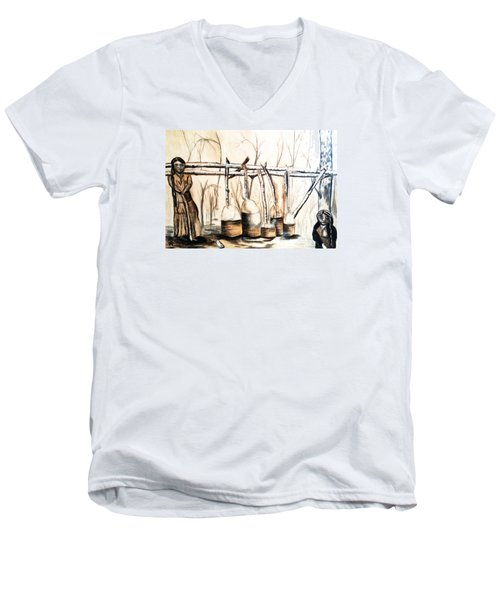 Men's V-Neck T-Shirt featuring the drawing Indians Making Maple Sugar. Cass Lake. 1905  by Ayasha Loya