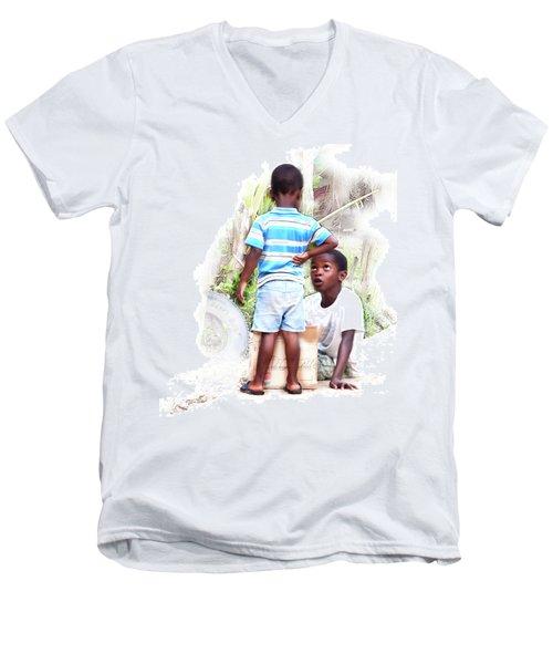 Indigenous Caribbean Kids In Panama Men's V-Neck T-Shirt