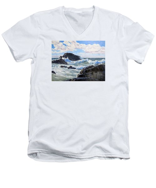 Men's V-Neck T-Shirt featuring the painting Indomitable Rock by Lawrence Dyer
