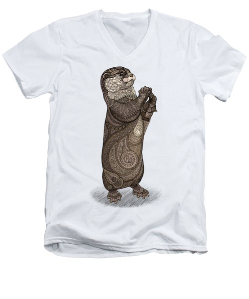 Infatuated Otter Men's V-Neck T-Shirt by ZH Field
