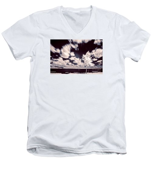 Infrared Lake Men's V-Neck T-Shirt by Odon Czintos