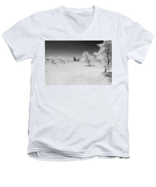 Infrared Peach Orchard Men's V-Neck T-Shirt