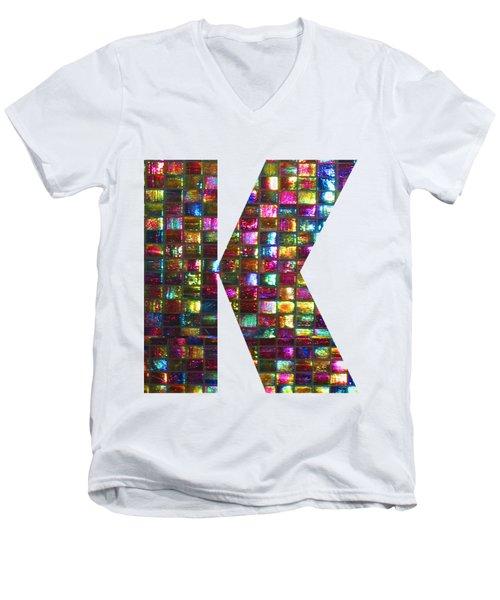 Initial Identity K Kk Kkk Alpha Alphabet Decorations Signature At By Navinjoshi From Canada At Fine Men's V-Neck T-Shirt
