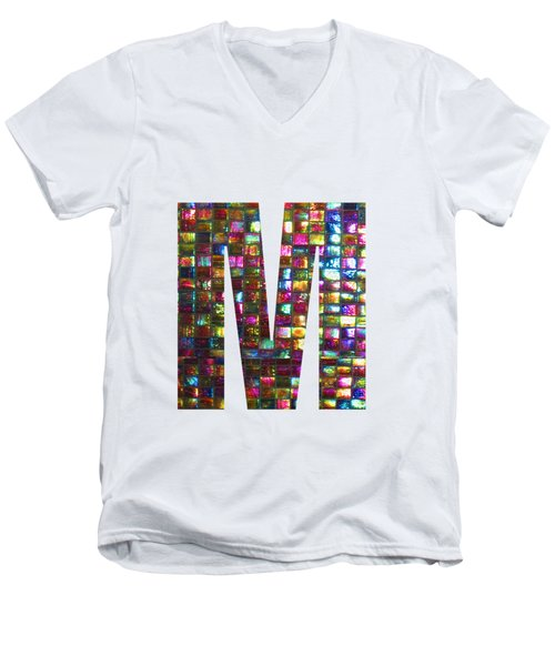 Initial Identity M Mm Mmm Alpha Alphabet Decorations Signature At By Navinjoshi From Canada At Fine Men's V-Neck T-Shirt