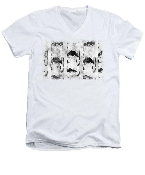 Ink Birches Men's V-Neck T-Shirt by Anton Kalinichev