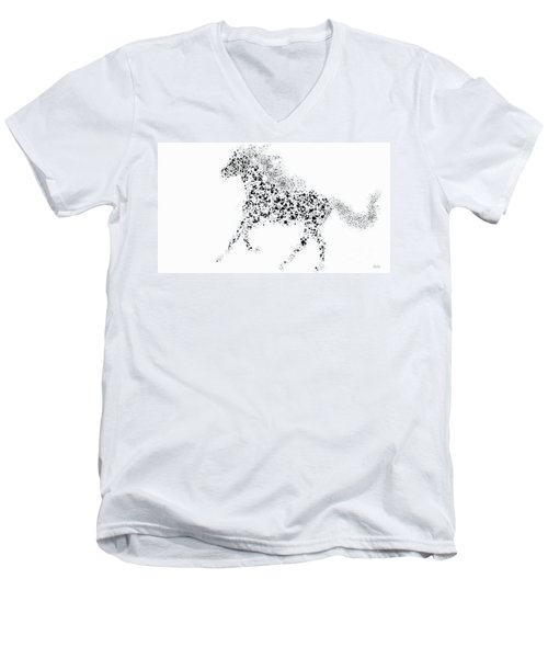 Men's V-Neck T-Shirt featuring the drawing Ink Splattered Stallion by Nick Gustafson