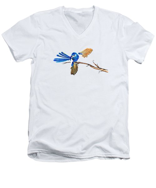 Inked Blue Fairy Wren Men's V-Neck T-Shirt by Lorraine Kelly