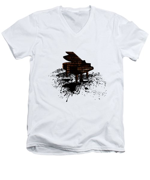 Inked Gold Piano Men's V-Neck T-Shirt by Barbara St Jean