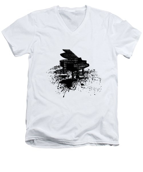 Inked Piano Men's V-Neck T-Shirt by Barbara St Jean