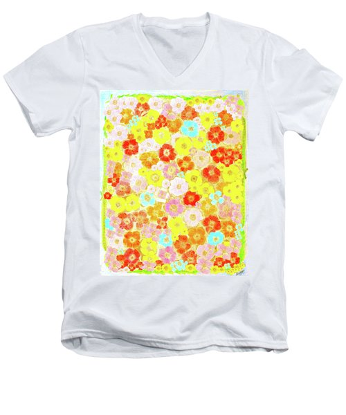 Men's V-Neck T-Shirt featuring the painting Inspired By Persimmon by Lorna Maza