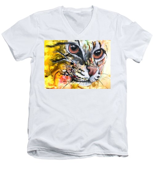 Men's V-Neck T-Shirt featuring the painting Intensity by Sherry Shipley