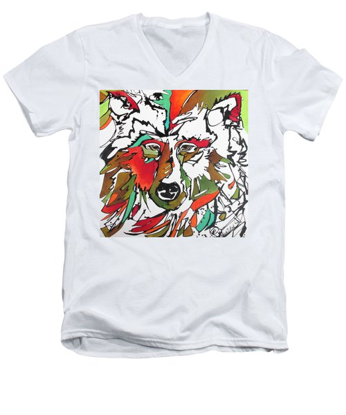 Men's V-Neck T-Shirt featuring the painting Intent by Nicole Gaitan
