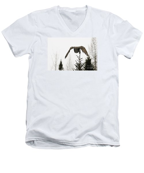Men's V-Neck T-Shirt featuring the photograph Intent On His Prey by Larry Ricker