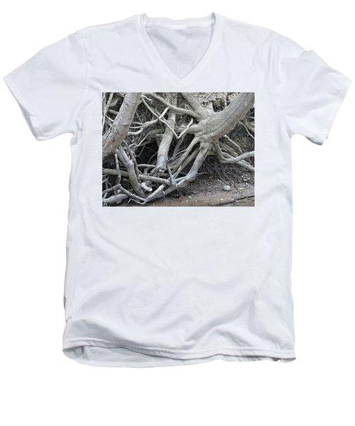 Intertwined Men's V-Neck T-Shirt by Sandra Church