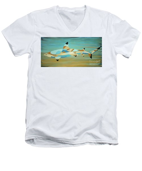 Into The Blue I Shark Painting Men's V-Neck T-Shirt