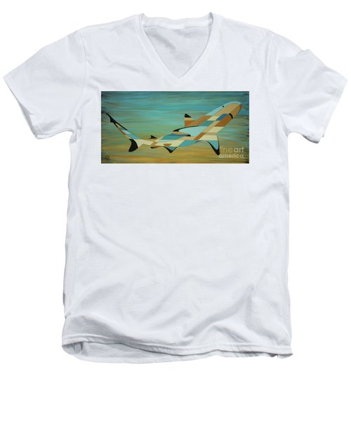 Into The Blue Shark Painting Men's V-Neck T-Shirt