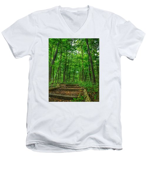 Men's V-Neck T-Shirt featuring the photograph Into The Forest by Nikki McInnes