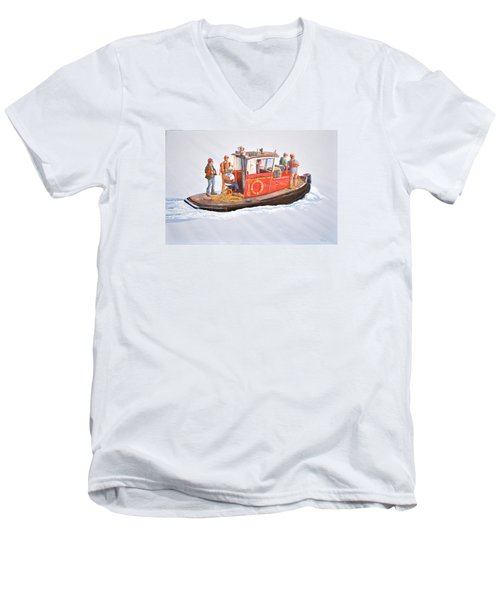 Into The Mist-the Crew Boat Men's V-Neck T-Shirt by Gary Giacomelli