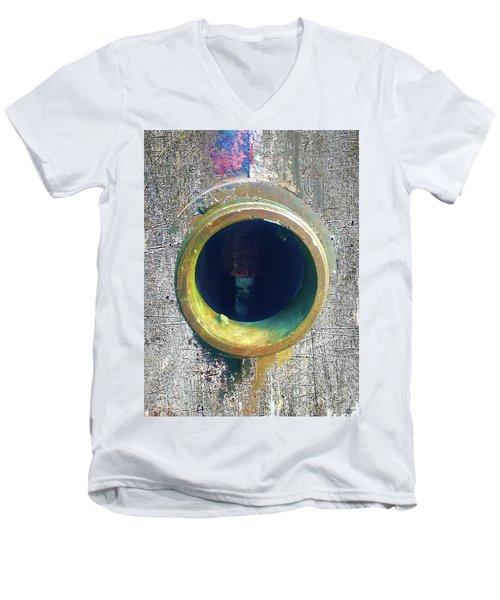 Men's V-Neck T-Shirt featuring the mixed media Inturupted by Tony Rubino