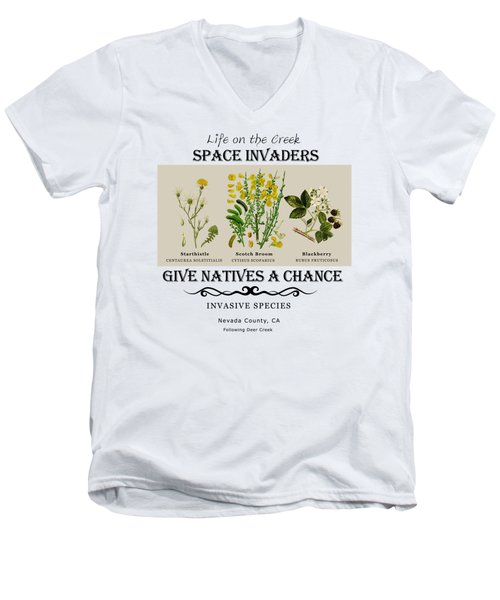Invasive Species Nevada County, California Men's V-Neck T-Shirt