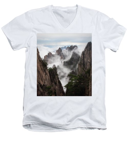Invisible Hands Painting The Mountains. Men's V-Neck T-Shirt
