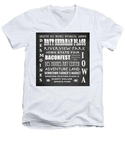 Iowa Famous Landmarks Men's V-Neck T-Shirt