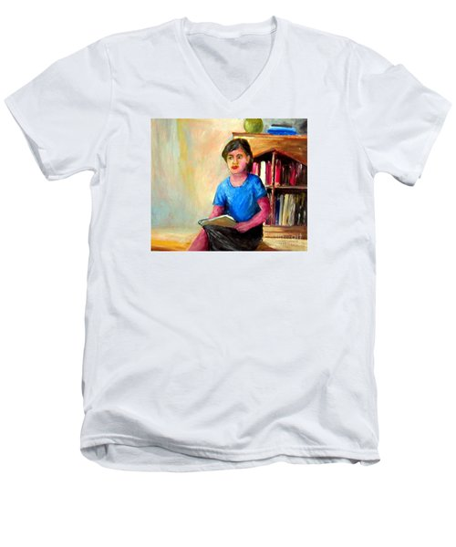 Men's V-Neck T-Shirt featuring the painting Irene by Jason Sentuf