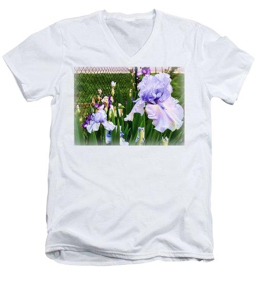 Iris At Fence Men's V-Neck T-Shirt by Larry Bishop