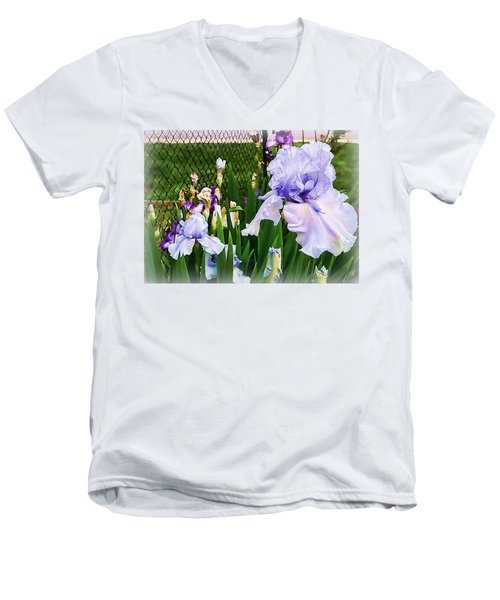 Iris At Fence Men's V-Neck T-Shirt
