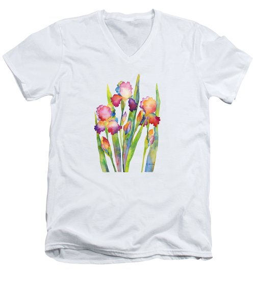 Men's V-Neck T-Shirt featuring the painting Iris Elegance by Hailey E Herrera
