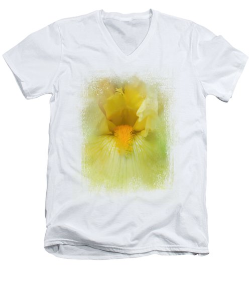 Iris In Lime Men's V-Neck T-Shirt by Jai Johnson