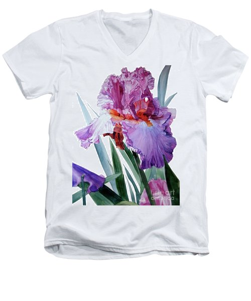 Watercolor Of A Tall Bearded Iris In Pink, Lilac And Red I Call Iris Pavarotti Men's V-Neck T-Shirt