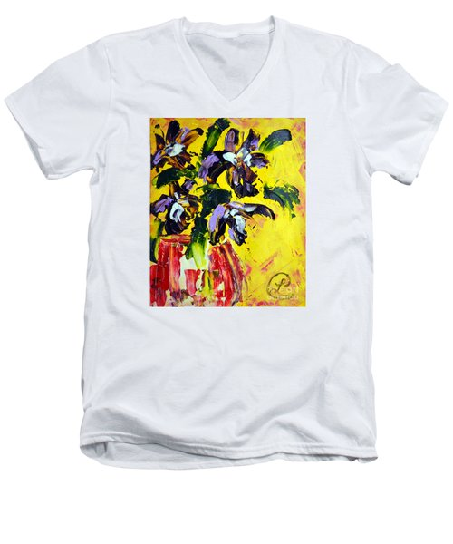 Irises Men's V-Neck T-Shirt by Lynda Cookson