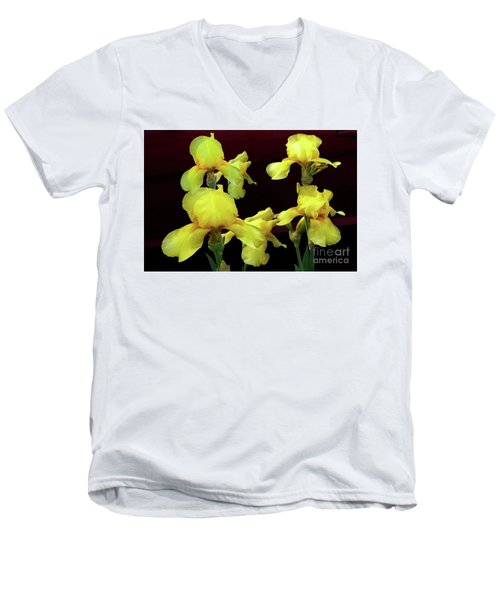 Men's V-Neck T-Shirt featuring the photograph Irises Yellow by Jasna Dragun