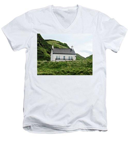 Irish Cottage Men's V-Neck T-Shirt by Stephanie Moore
