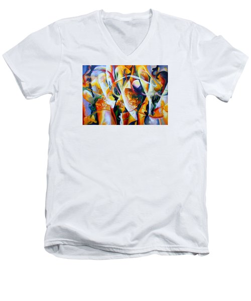 Men's V-Neck T-Shirt featuring the painting Irish Madness by Georg Douglas