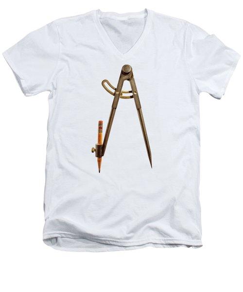 Iron Compass Back Split Color Paper Men's V-Neck T-Shirt