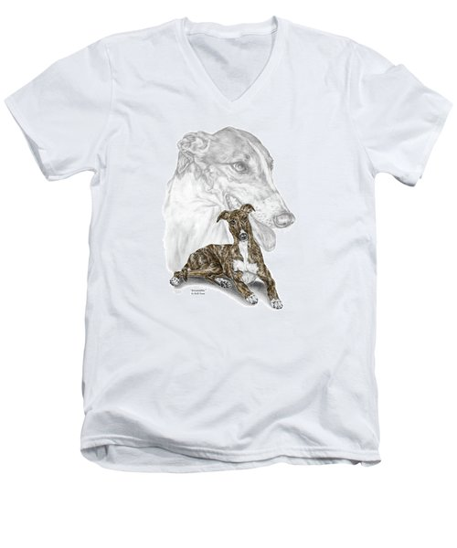 Men's V-Neck T-Shirt featuring the drawing Irresistible - Greyhound Dog Print Color Tinted by Kelli Swan