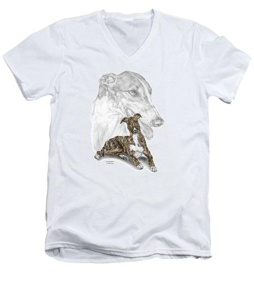 Irresistible - Greyhound Dog Print Color Tinted Men's V-Neck T-Shirt