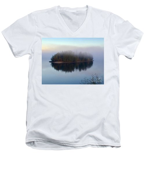 Island In The Autumn Mist Men's V-Neck T-Shirt