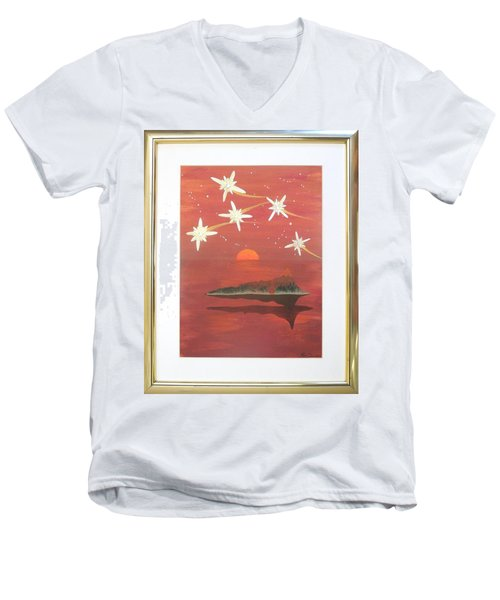 Men's V-Neck T-Shirt featuring the painting Island In The Sky With Diamonds by Ron Davidson
