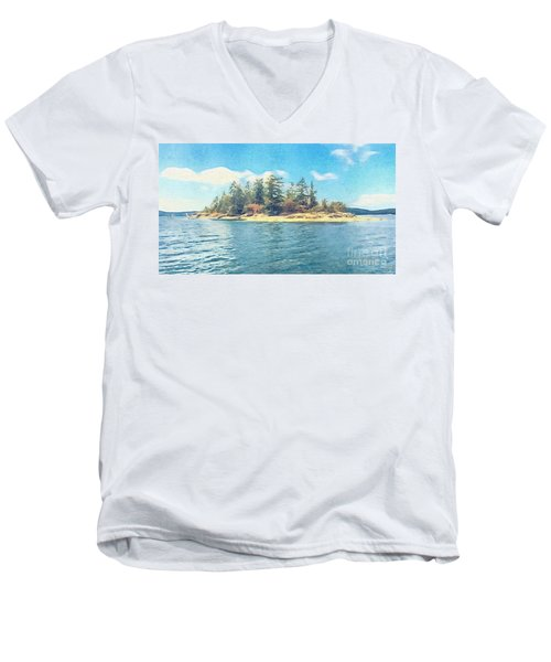 Men's V-Neck T-Shirt featuring the photograph Island In The Sound by William Wyckoff