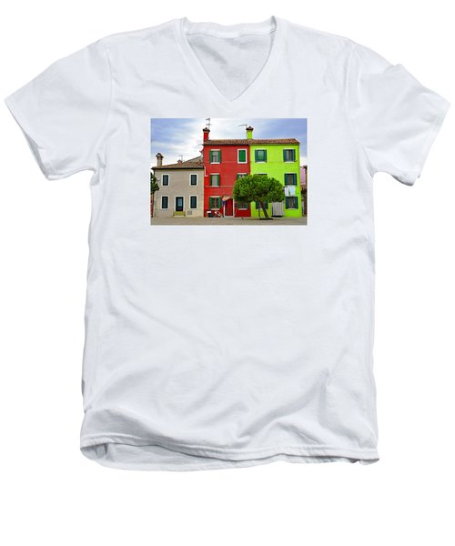 Island Of Burano Tranquility Men's V-Neck T-Shirt