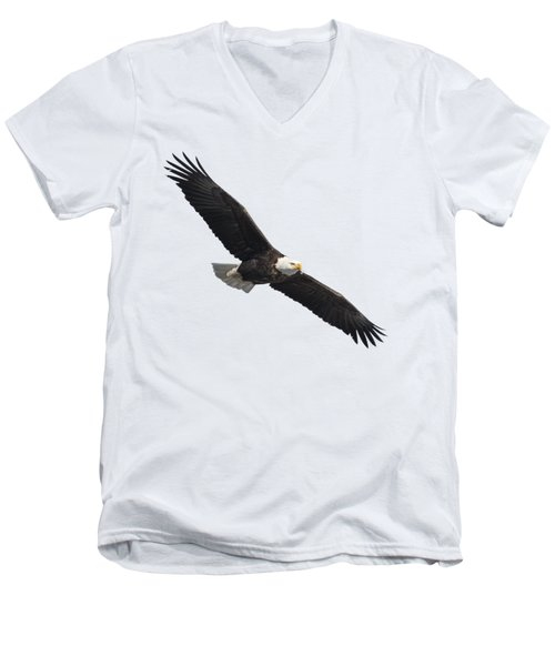 Men's V-Neck T-Shirt featuring the photograph Isolated American Bald Eagle 2016-2 by Thomas Young